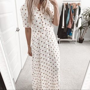 COPY - Zara Polka Dot Belted Long Dress Vanilla R…